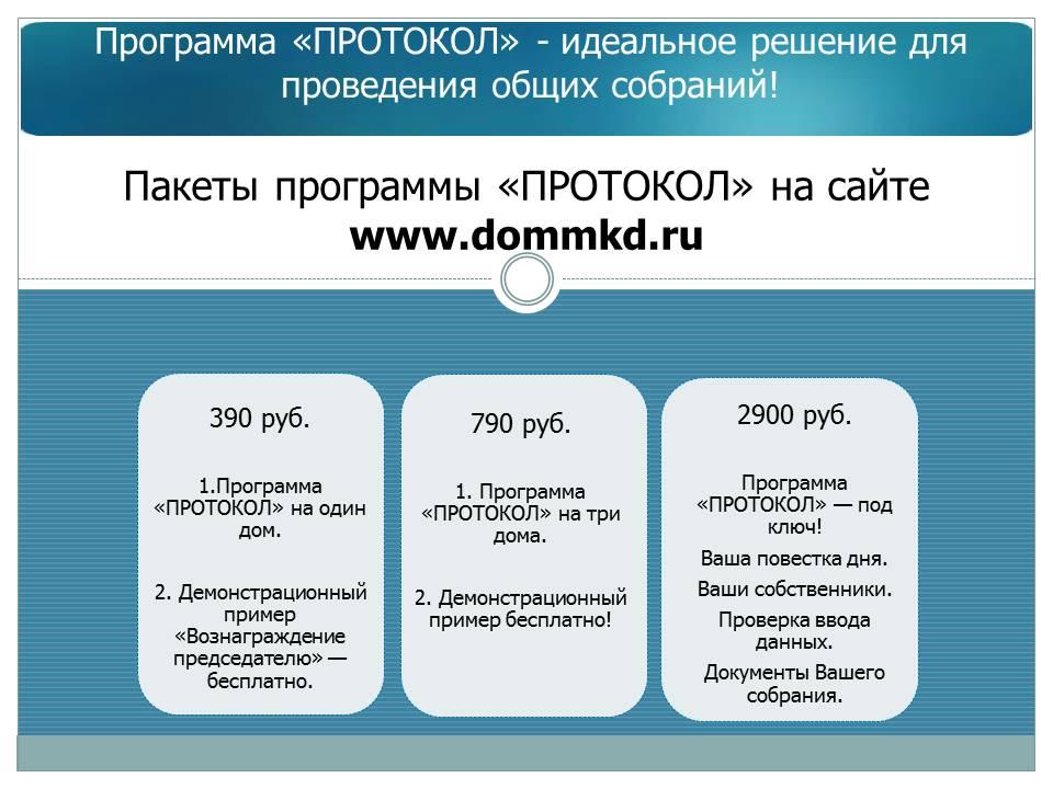 Пакеты программы ПРОТОКОЛ